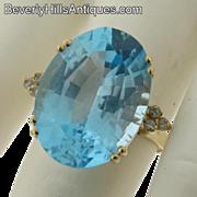 Large Blue Topaz Oval Shaped 14k Diamonds Ring