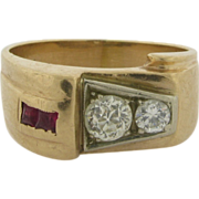 Art Deco 14k Gold Rubies Diamonds Man's or Lady's Ring