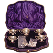 5 Antique Urn Shaped English Sterling Silver Salt Cellars Fitted Case