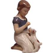 Vintage Bing and Grondahl Danish Porcelain Girl with Puppy #2316