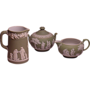 Three Green Wedgwood England Items