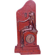 Superb Antique Art Nouveau Nude Lady Bronze and Rouge Marble Clock