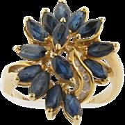 Beautiful Vintage 14k Gold Sapphires & Diamonds Designer Ring