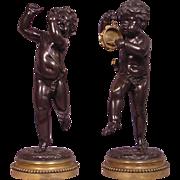 Pair of Antique Musical 19th Century Bronze Dancing Putti