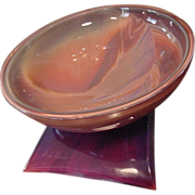 Unique Monumental Artist Signed Dino Rosin Murano Glass Centerpiece Rainbow Bowl