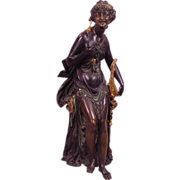 19th Century Partial Gilt Vienna Bronze Style Orientalist Lady With Lute