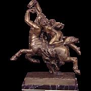 Superb Centaur Nessus & Deianeira Antique Gilt Bronze Signed J. LeDuc (1848-1918)