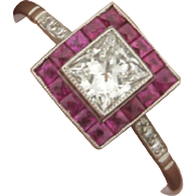 Beautiful Art Deco Design .51 Princess Cut Diamond and Rubies Platinum Ring