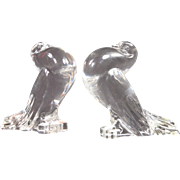 Rare Pair of Mint Condition Steuben Crystal Pouter Pigeons Madigan  #7729