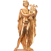 Antique Gilt Bronze Nude Apollo Sculpture Signed Odiot A. Paris