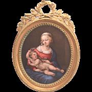 """Johann Heinrich von Hurter """"Swiss"""" 1734-1799 Exquisite Enamel Raphael Madonna"""