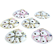 Set of 6 Rare Union Porcelain Works Hand Painted Oyster Plates 1881