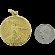 Ultimate Sagittarius 18k French Gold Pendant Signed Becker