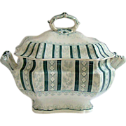 SOLD Staffordshire Green Transfer Printed Soup Tureen and Cover