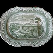 Copeland and Garrett Green Transfer Printed Byrons Views Thun Pattern Tree and Well Platter