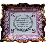 A Sunderland Pink Marbled and Copper Luster Plaque