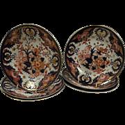 "Six Bloor Derby King's Pattern 9"" plates."