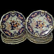 "A Set of 12  Bloor Derby Porcelain ""King's"" Pattern Soup plates"