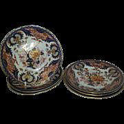 """A Set of Seven Derby Porcelain """"King's"""" Pattern Side Plates"""