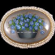 Essex Crystal Brooch, Forget-me-not Flowers, 14K, Seed Pearls, C.1890.