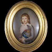 SOLD Portrait Miniature Dauphin Louis-Charles XVII, Hand Painted C.1880-1910.