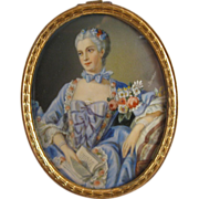 Portrait Miniature Madame Pompadour, Marquise de Pompadour, Hand Painted, C.1880.