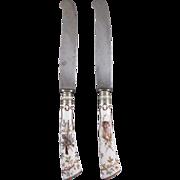 Pair Meissen Porcelain Hunt Service Dinner Knives, Hand Painted, C.1890.