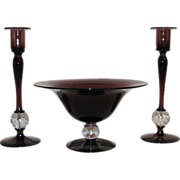 REDUCED Pairpoint Glass Console Set, Amethyst with Bubble Ball Connector, C.1920s.