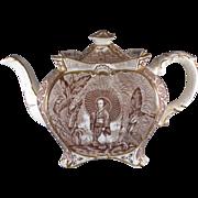 SOLD English Transferware Teapot, Burgess and Leigh, Brown Geisha Chinoiserie C.1896.