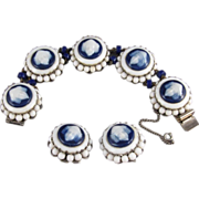 Freirich Signed Costume Jewelry Bracelet and Earrings Set, C.1960s.