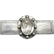 American Victorian Sterling Silver Brooch, Foil Back Stone, C.1870.