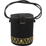 Deco Bolster Cylindrical Purse, Black Velvet Suede, C.1930-40.