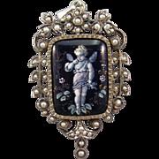 Renaissance Revival Limoges Enamel Pendant Locket, Cupid, Pearls, C.1870.