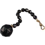 Black Glass Facet Cut Beads and Gold Filled, Watch Fob Chain or Scarf Ring.