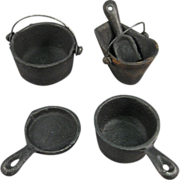Doll or Toy Cast Iron Cookware Set for Toy Stove.