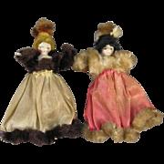 Pair, Peg Wooden Miniature Dollhouse Dolls, C.1850, Original Accessories.