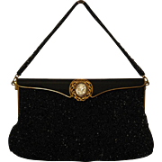 Black Beaded, Enameled Purse, Mother-of-Pearl Abalone Cameo, Brass Filigree.