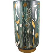 Mid Century Modern Sgraffito Harlequin Incised Pottery Vase.
