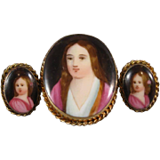Hand Painted Porcelain Set, Family Portraits, Pendant-Brooch & Earrings C.1895.