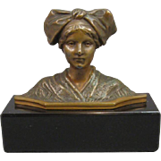 SOLD Bronze Miniature Bust of a Woman on Marble Base, C.1900.