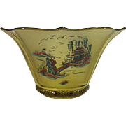 Imperial Glass Satin Sunburst Bowl, Chinoiserie Decoration.