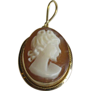 Vintage Hand-Carved Shell Cameo Pendant in 14Kt Gold Bezel