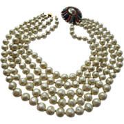 Unique Marvella Signed Five Layer Faux Pearl Necklace With Navette Stone Slide Clasp