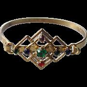 Art Deco Gold-Toned Bangle-Style Bracelet w/ multicolored rhinestones