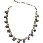 Kramer Ruby AB Glass Necklace In Gold Finish w/ Bronze-Toned Rondelles