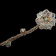 Juliana D&E Crystal AB Glass Gold Finish Chrysanthemum Brooch