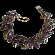 Juliana D&E Book Piece(seen first in 1964) Bracelet w/ metal accents & violet tones
