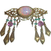 Vintage Sadie Green Brass Brooch with Faux Confetti Opal