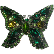 Signed Weiss 1950's Emerald Green Butterfly Pin