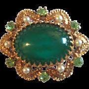 Austria Signed Georgian Era Revival Gold Tone Glass Cabochon Brooch w/ Light Green Austrian ..